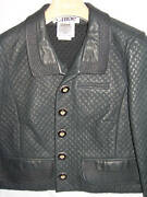 New 4080 Mccartney Lamb Leather Quilted Stitching Jacket Motorcycle Blue