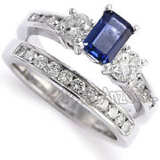 Diamond Sapphire Engagement Ring Wedding Band Set 14k White Gold R1089