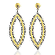 Royal Vintage Ethnic Look Marquise Shaped Dangle Earrings Diamond Gold Jewelry