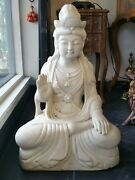 Large Chinese Carved Marble Guanyin Kwanyin Statue 178 Lbs, 26 1/4'' Height