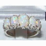 Vintage Design Solid 585 14k White Gold Ladies 5 Stone Colourful Fiery Opal Ring