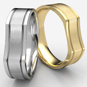 Bone Style Satin Finished White Gold 7mm Man Menand039s Womenand039s Wedding Bands Rings