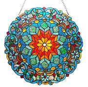 Stained Glass Lighting Round Window Panel 21 Inches Handcrafted New