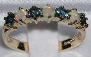 High Quality Solid 14k Yellow Gold Natural Fiery Opal And Sapphire Band Ring