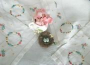 Sweet Bullion Roses Hand Embroidery Antique Linen Tea Cloth Vintage Tablecloth