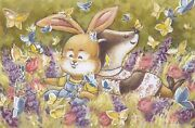 Rabbit And Badger In Filed Buterflies Flowers By Malyauka Russian Modern Postcard
