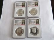 2014 John F. Kennedy 4 Coin Silver Set 50th Anniversary Ngc , High Relief