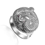 Men's Twisted Serpent Genuine Ruby Ring In 14k White Gold R1958.