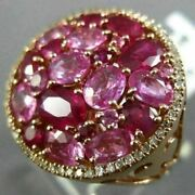 Extra Large 6.38ct Diamond Aaa Pink Sapphire And Ruby 14k Rose Gold 3d Flower Ring
