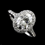 14k White Gold Cut Down Micro Pave Halo Oval Diamond Engagement Ring Mounting