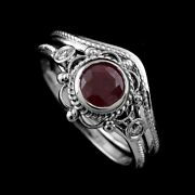 Victorian Style Diamond Round Ruby Engagement Ring And Curved Wedding Band Set