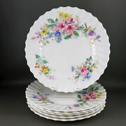 Set Of 6 Royal Doulton Arcadia Luncheon Plates, 9 Inch, Green Mark, Pink Flowers