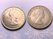 114 - 1...... Lot Of 2 Coins 1955 And 1961 Great Britain Uk Two Shillings