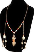 Antique Tibetan Ornament Coral Turquoise Sterling Silver Necklace 36 95g