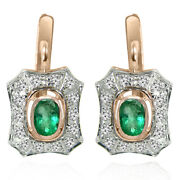 Russian Vintage Style Emerald And Diamond Earrings 14k Solid Two-tone Gold