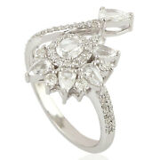 Memorial Day Sale 1.05 Natural Diamond Cocktail Ring 18k White Gold Jewelry