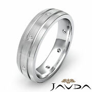 Wedding Dome Brushed Band Diamond Mens Eternity Solid Ring 18k White Gold 0.20ct