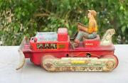 Vintage Old Battery Operated T. N. Mark Bulldozer No. 642 Litho Print Toy Japan