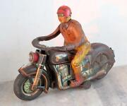 Vintage Old Battery Mt Trademark Police Man With Motorcycle Litho Tin Toy Japan