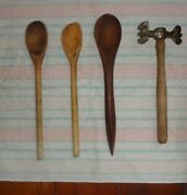 3 Antique Wooden Spoons And A Meat Tenderizer