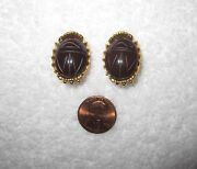 Mma Ny Museum Clip Earrings Scarab Egyptian Revival Brown Gold Plated --mint