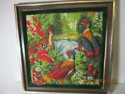 Unique 3-d Quilted Ring Neck Pheasant Fabric Picture In Frame 13 1/4 X 13 1/4