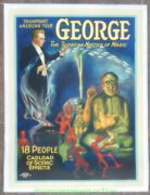 Grover G. George Magic Poster 1920and039s Linenbacked 20x27 Inch American Tour Promo