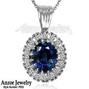 14k Rose And White Gold Created Sapphire Genuine Diamond Russian Style Pendant .