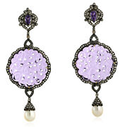 60.7ct Gemstone Gold Diamond 925 Sterling Silver Dangle Earrings Carving Jewelry