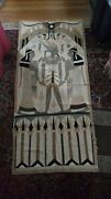 2 Antique Egyptian Quilt Tapestry Distressed Sailcloth Hand Sewn 74 X 34