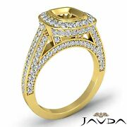 Halo Bezel Set Diamond Engagement Cushion Semi Mount Ring 18k Yellow Gold 1.25ct