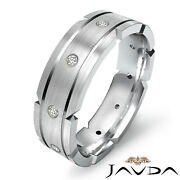 0.21 Ct. Grooved Dome Wedding Band White Gold Menand039s Round Diamond Eternity Ring