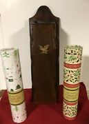 """Wood Americana 18"""" Match Holder Fireplace Hearth Wall Eagle And 180 11"""" Matches"""