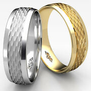 7.5mm Classic Chain Link Beveled Edge Man Menand039s Womenand039s Wedding Band Gold Rings