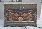 Old China Lacquerware Wood Carving Dynasty The Palace Foo Dog Lion Box Case Bin