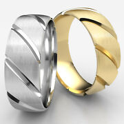 Candy Cane Satin Finished Man Menand039s Womenand039s Ring 7.5mm Wedding Band White Gold