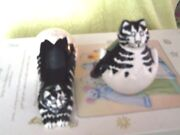 Kliban Cat Salt And Pepper Shaker Hatched From An Egg