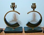 Majestic Mid Century Modern Table Lamps Pair Very Rare Free Shipping