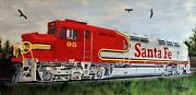 Train Santa Fe Railroad=orig. Oil Painting By=orphie Barella Frame Not Included.