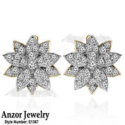14k Solid Yellow And White Gold Genuine Diamond Russian Style Earrings E1367