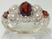 Luxury Solid 585 14k White Gold Natural Garnet And Cultured Pearl Victorian Ring