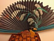 Antique Vintage Chinese Scroll Painting Duck Mallard Rose Chinese Fan Rare 😏