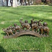 Bronze Art Deco Pack Of Elephant Sign Of Prosperity And Luck Sculpture Statue