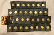 1997 Pinnacle Mint-complete Set Of 30 Brass Gold Coins And Cards Nr-mint Gordon