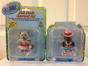 Webkinz Lot Of 2 Pvc Cake Toppers Pink Picnic Charcoal Cat And Cowgirl Clydesdale