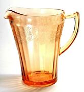 Jeanette 7 1/4 Cherry Blossom Pink Depression Glass 42oz. Water Pitcher