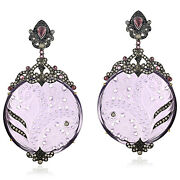 114.2ct Carved Gemstone Diamond Gold 925 Sterling Silver Dangle Earrings Jewelry