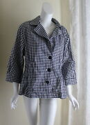 Joan Rivers -sz 2x Black White Houndstooth Funky Cotton 3/4 Jacket