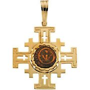 14 Kt Gold Genuine Widows Mite Coin And Jerusalem Cross Pendant New