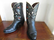 Acme Vintage 1940and039s Peewee Shorty Cowboy Boots Cutout Inlay Size 9 - 9.5 D